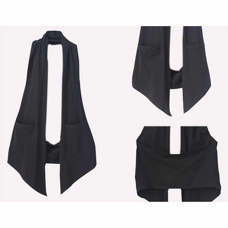 여성 가을 패션 OL 스타일 홀터넥 민소매 자켓 봄 여성 섹시한 한국 캐주얼 솔리드 슬림 기질 조끼 Femme Coat