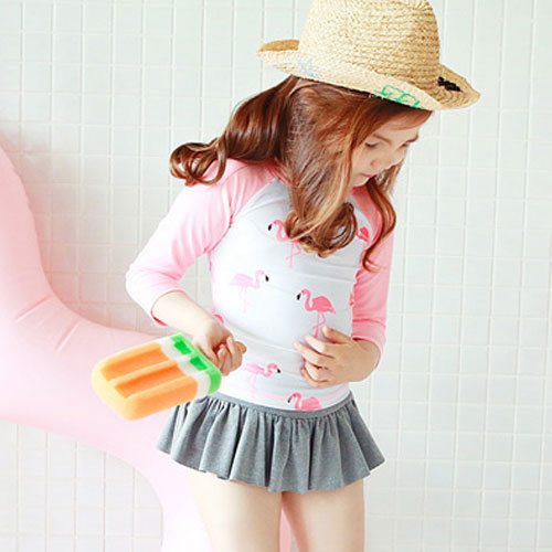 New Style South Korea KID'S Swimwear Hipster Flamingo Pink Digital Printing Long Sleeve Dress Medium-small GIRL'S Swimsuit