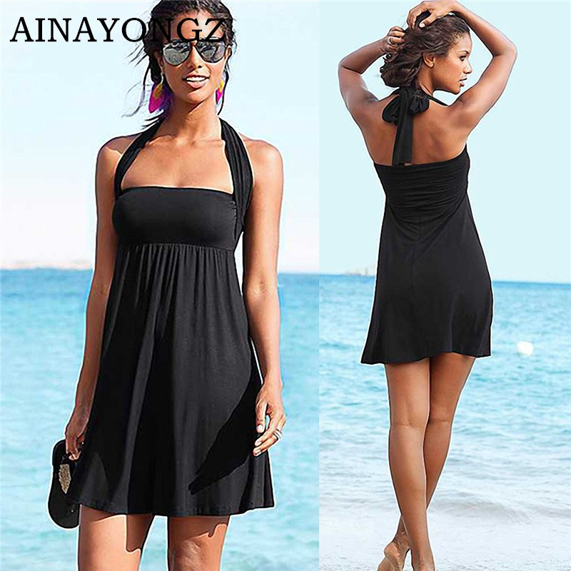 2020 Sexy Beach Dress Bikini Cover-ups Women Summer Wrapped Chest Sleeveless Beachwear Swimsuit Cover Plus Size Wraps Sarongs