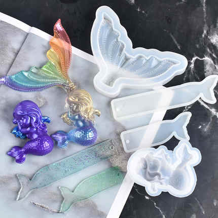 DIY Home Decorating Mermaid Tail Resin Tools Silicone Moulds Craft Molds
