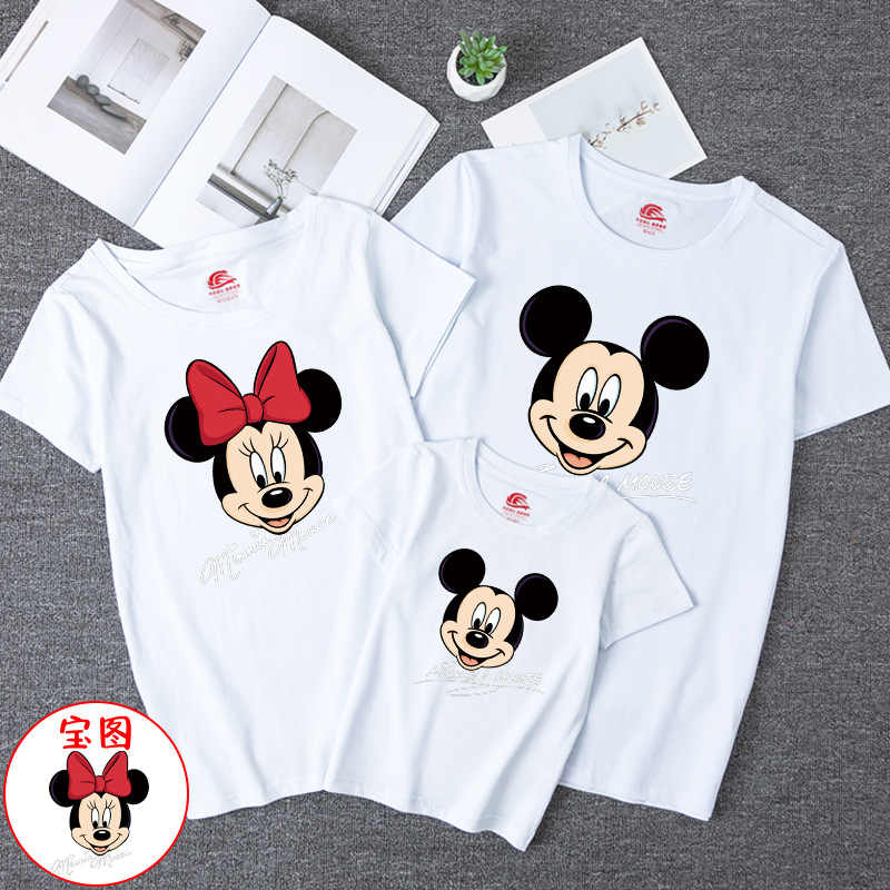 Neue Eltern-kind T-shirt Kinder Minnie Cartoon Short-ärmeln Mutter Vater Kinder Tops Paar Kleidung Familie Passenden Kleidung weiß