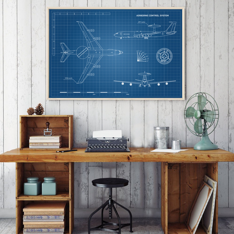 Blueprint of Aircraft Poster Home Decor