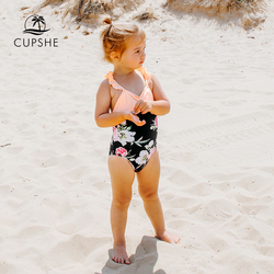 CUPSHE Sweet Floral Ruffles One-piece Swimsuit For Toddler Girls And Girls Kids Swimsuit 2020 Children Bathing Suits 2-13 Years