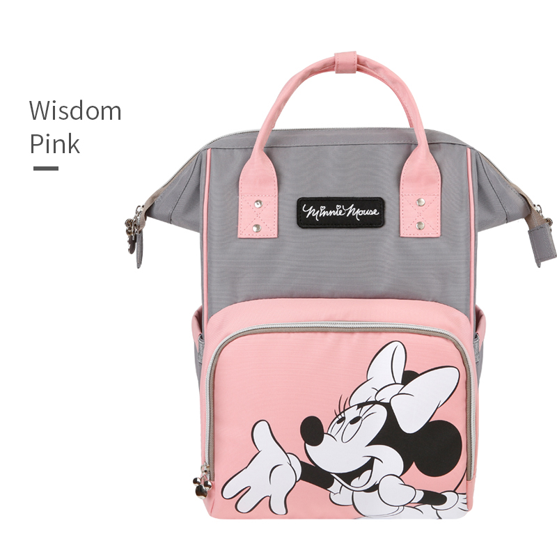 Disney Minnie Pink Mummy Bag Waterproof Multifunctional Baby Diaper Bag Mom Large Capacity Out Backpack Fashion