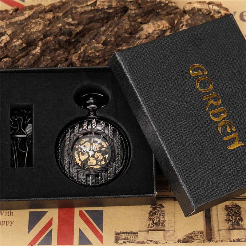 Vintage noir creux squelette mécanique montre de poche hommes Steampuk main vent pendentif horloge chaîne chiffres arabes cadran pour cadeau