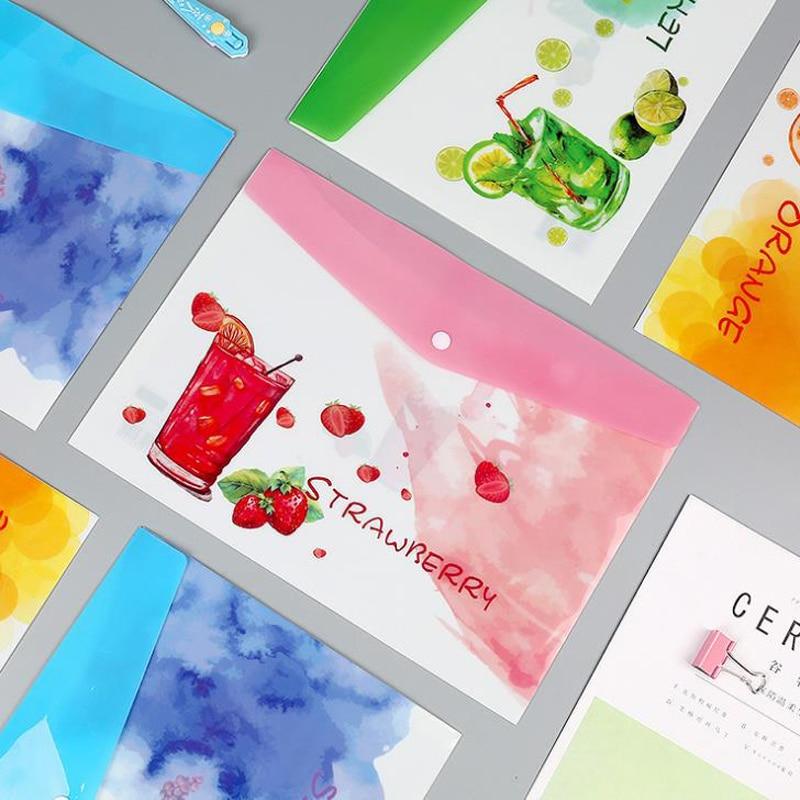 1 Pcs Fresh A4 Fruits Lemon Grape Strawberry Orange PVC Waterproof Document Bags File Folder Organizer Korean Stationery Gifts