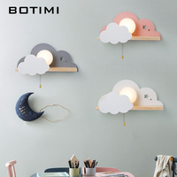 BOTIMI Children LED Wall Lamp For Bedroom Glass Lampshade Cloud Metal Cartoon Boys Bedside Lighting Kids Room Girls Wall Sconce