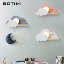 Настенный светильник для мальчиков и девочек BOTIMI, металлический светодиодный светильник для спальни, со стеклянным абажуром и облачным рисунком