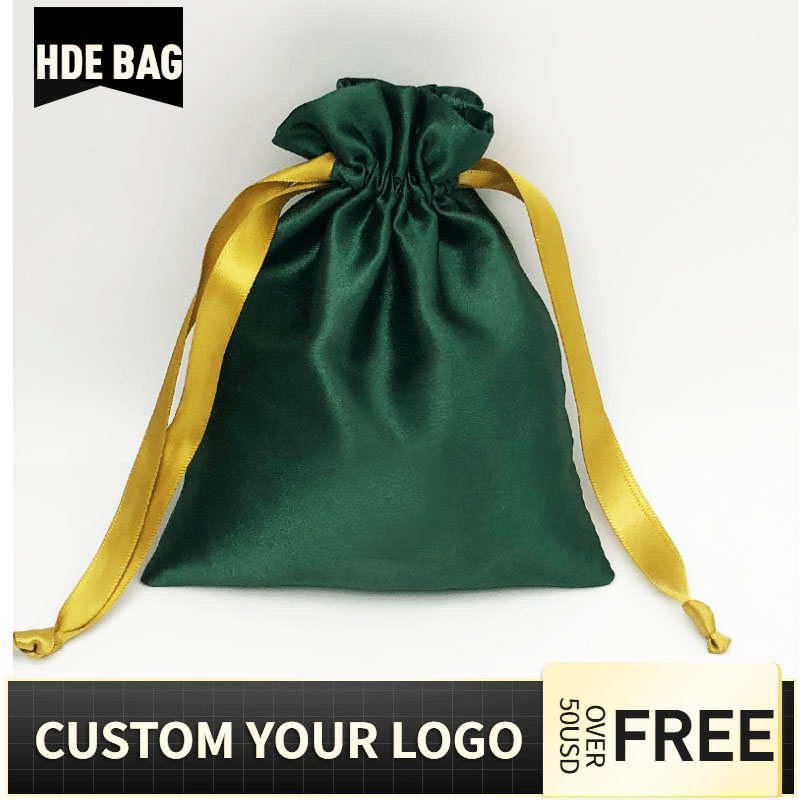 10x15cm 50pcs Customized Logo Silk Satin Drawstring Pouches Shoes Clothing Perfume Hair Wig Cosmetic Jewellry Gift Packaging Bag