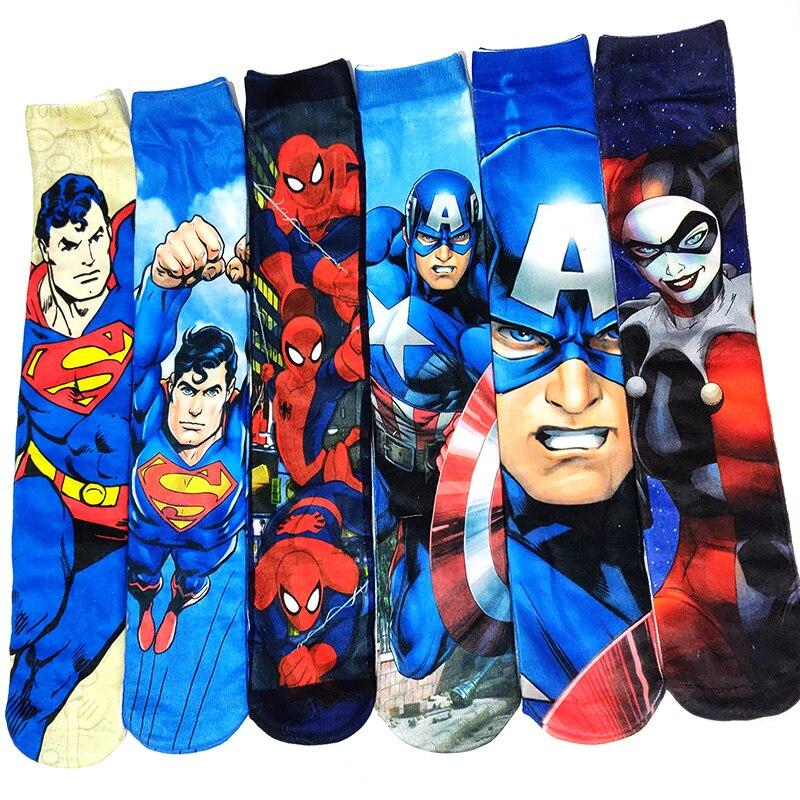 Black Panther Spider-Man Batman Superman Captain Prints Men Socks Funny 3D Printed Socks Oil Painting Villain Hero Lengthen