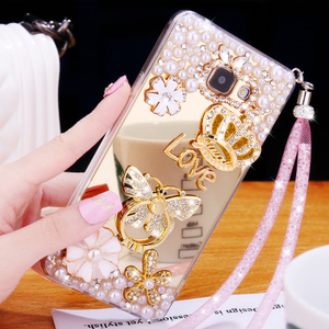 Funda de lujo de poliuretano termoplástico suave con espejo y diamante para Oppo A7 A7X A5S, carcasa trasera de perla de adorno brillante