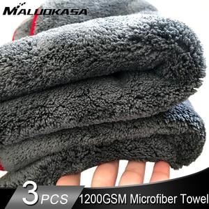 Image 1 - 車のクリーニングタオル1200GSM車ディテール40*40/60*90センチメートルマイクロファイバー乾燥タオル自動研磨ツール洗車布アクセサリー