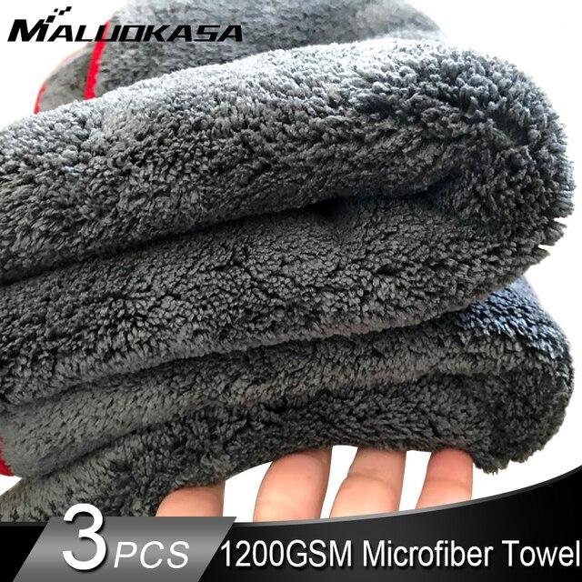 車のクリーニングタオル1200GSM車ディテール40*40/60*90センチメートルマイクロファイバー乾燥タオル自動研磨ツール洗車布アクセサリー