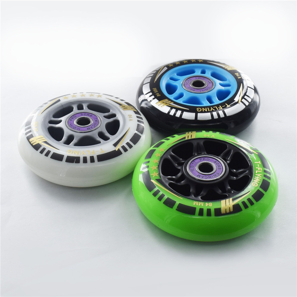 84mm 8 Pieces Inline Speed Skate Wheels Green 83A Other Color 84A Tires Free Skating Roller For Racing Patines