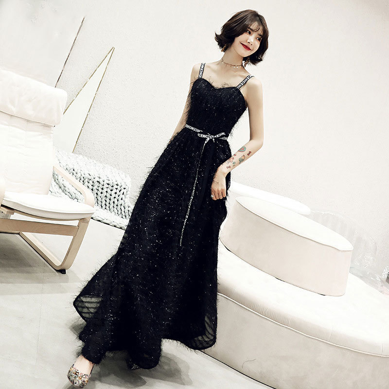 Long Black Beauties Of Cultivate Morality Dress Female Party 2019 New Spring Conference Host Evening Dress