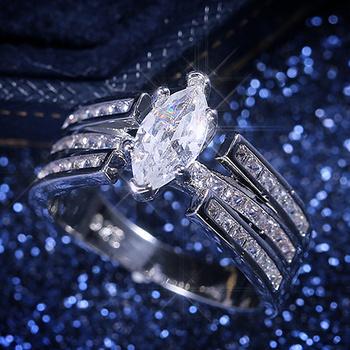 Huitan klasyczne wysokiej jakości zakazy ślubne dla kobiet z luksusowym Marquise w kształcie kamień z cyrkonii Prong ustawienie kobiet pierścień tanie i dobre opinie CN (pochodzenie) Mosiądz Kobiety Cyrkonia Klasyczny Obrączki ślubne GEOMETRIC B2906 Z wystającym oczkiem moda Ślub