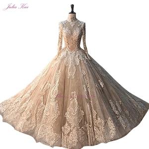 Image 4 - جوليا كوي رائع الشمبانيا الكرة ثوب الزفاف مع كم طويل أنيق الزفاف الدانتيل فستان الزفاف
