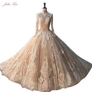 Image 4 - Julia Kui precioso vestido para baile de color champán con manga larga, elegante vestido de novia de encaje para boda