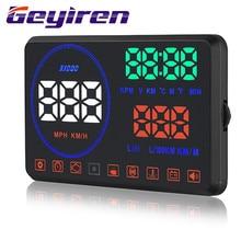 цена на Intelligent HUD Head-up Display Belt Baffle HUD Head Display Speed Fuel Consumption Speed Water Temperature Alarm System M9