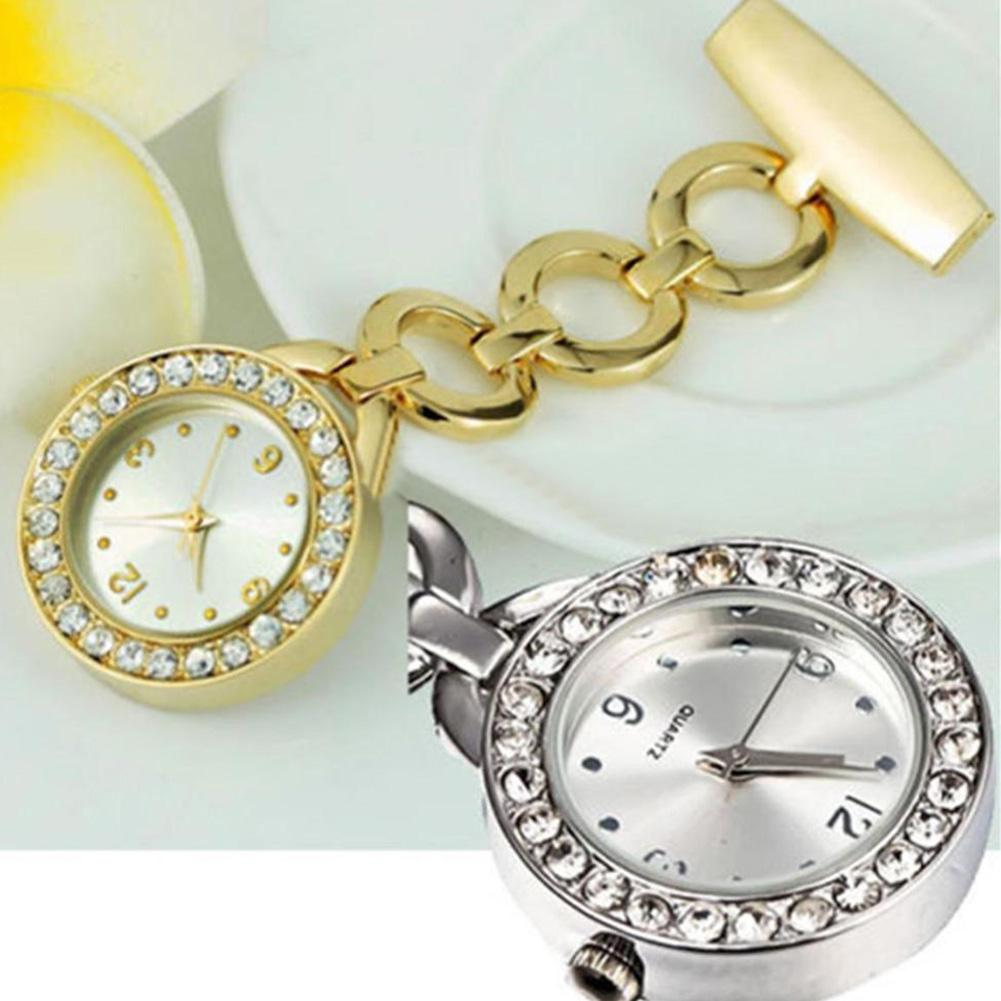 Luxury Rhinestone Round Dial Nurse Watch Brooch Pin Quartz Fob Pockets Watch Vintage Bronze Steampunk