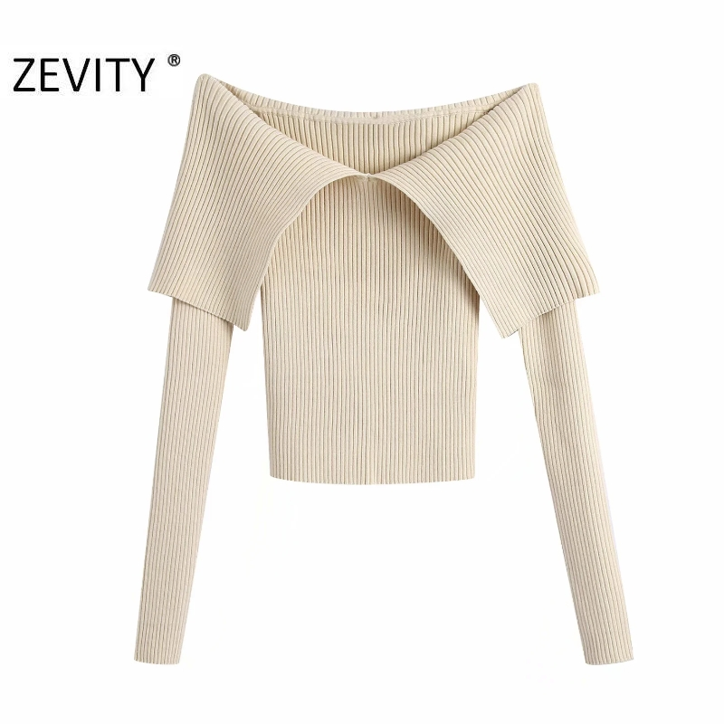 Zevity New Women Sexy Slash Neck Solid Color Slim Knitting Sweater Femme Chic Basic Long Sleeve Casual Pullovers Brand Tops S477