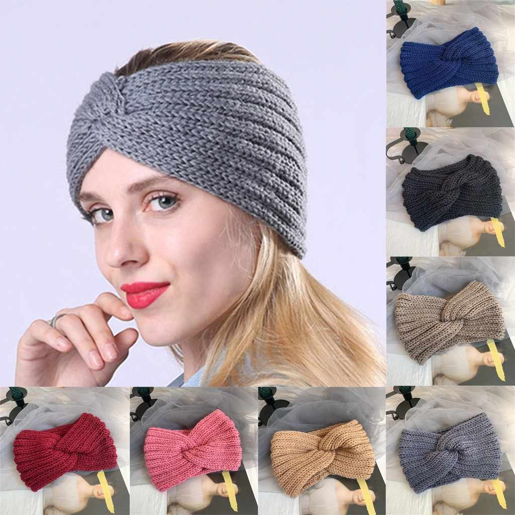 Fashion Winter Hair Band Women Solid Color Knitted Cross Knotted Sports Headband Simple Warm Elastic Hair Accessories