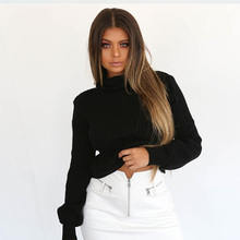 ALLNeon Women Turtleneck Cropped Sweaters Slim Lantern Sleeve Knitting Pullovers High Neck Striped Ladies Jumper Winter Casual