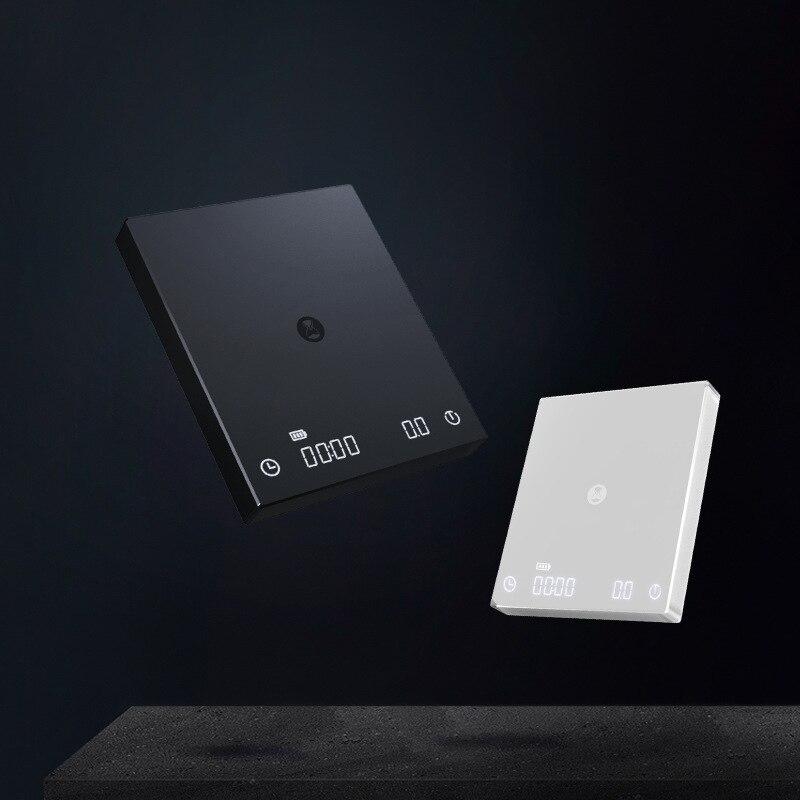 TIMEMORE الأسود مرآة الأساسية ميزان إلكتروني قطرة اليد القهوة قابلة للشحن الذكية مقياس القهوة توقيت المطبخ مقياس LED 2 كجم