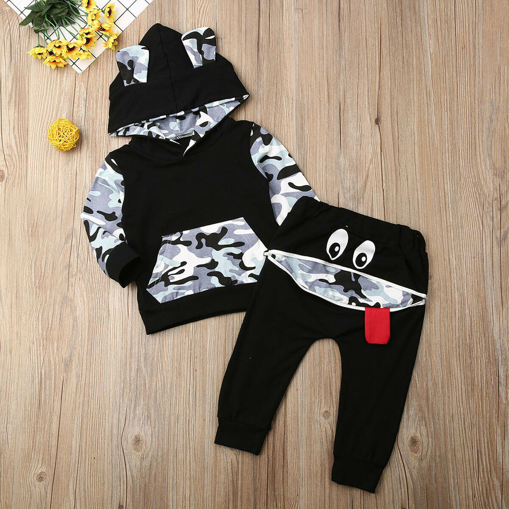 2019  Baby Boys Girls Ear Hoodie T-shirt Pants Outfits Toddler Clothes Set