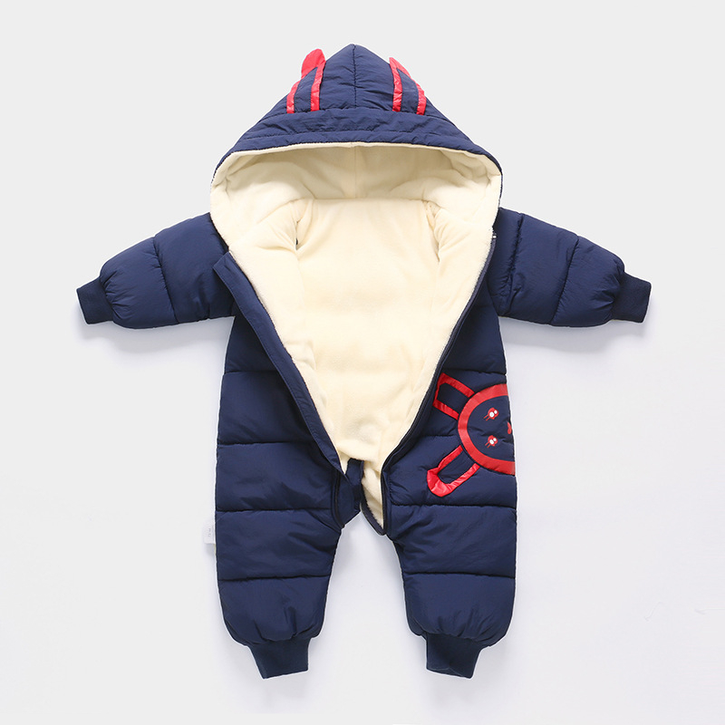 Baby Snowsuit Infant Hooded Romper Winter Footies Jumpsuit Zipper Front Boys Girls Thicken Outfits Zipper Front