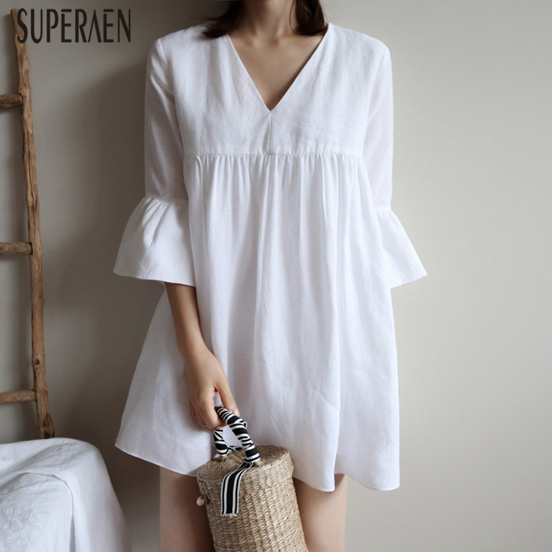 SuperAen Fashion Cotton Dress Female Summer New 2020 Europe Solid Color Ladies Dress V Neck Casual Sweet Women Clothing