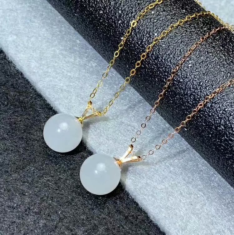 SHILOVEM 18k yellow gold real natural white Jasper pendants Christmas Gift fine Jewelry wedding no necklace 10mm mymz101099hby