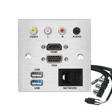Connecteur de carte de raccordement réseau HDMI VGA USB, alliage daluminium, cordon dextension sans soudure, panneau de prise vidéo L R AUDIO