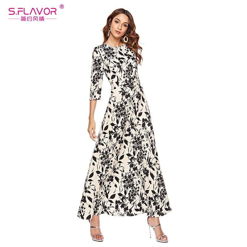 Image 5 - S. FLAVOR Для женщин тонкий длинное платье Весенняя мода плюс Размеры 3/4 с длинными рукавами круглым вырезом Цветочный принт в богемном стиле элегантные вечерние платьяПлатья   -