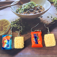 2019 New Funny Favor Small chili Food Play Drop Earrings Simple fashion personality Diy Food instant noodle earrings drop cheap None TRENDY Resin Women