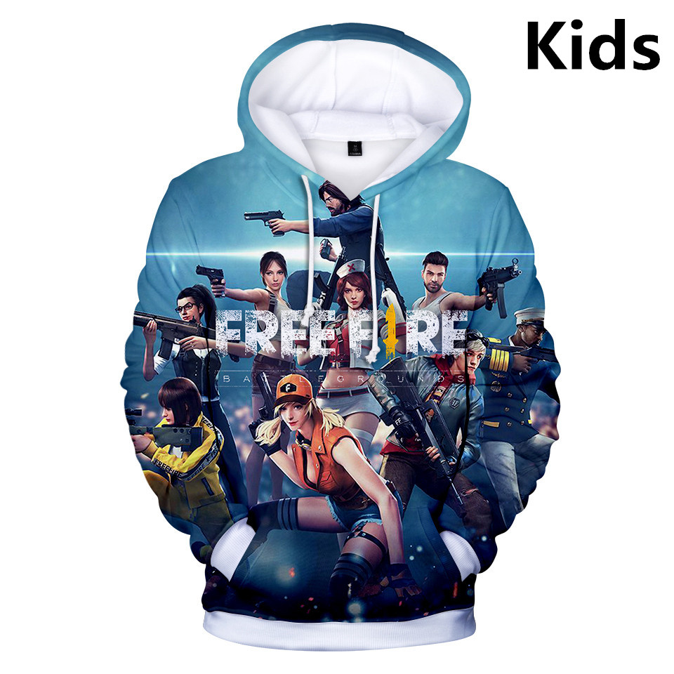 2 To 13 Years Kids Hoodies Free Fire 3d Printed Hoodie Sweatshirt Boys Girls Harajuku Long Sleeve Jacket Coat Children Clothes