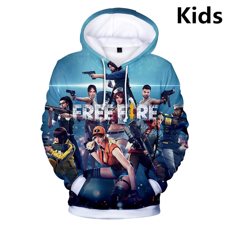 2 To 13 Years Kids Hoodies Free Fire 3d Printed Hoodie Sweatshirt Boys Girls Harajuku Long Sleeve Jacket Coat Children Clothes