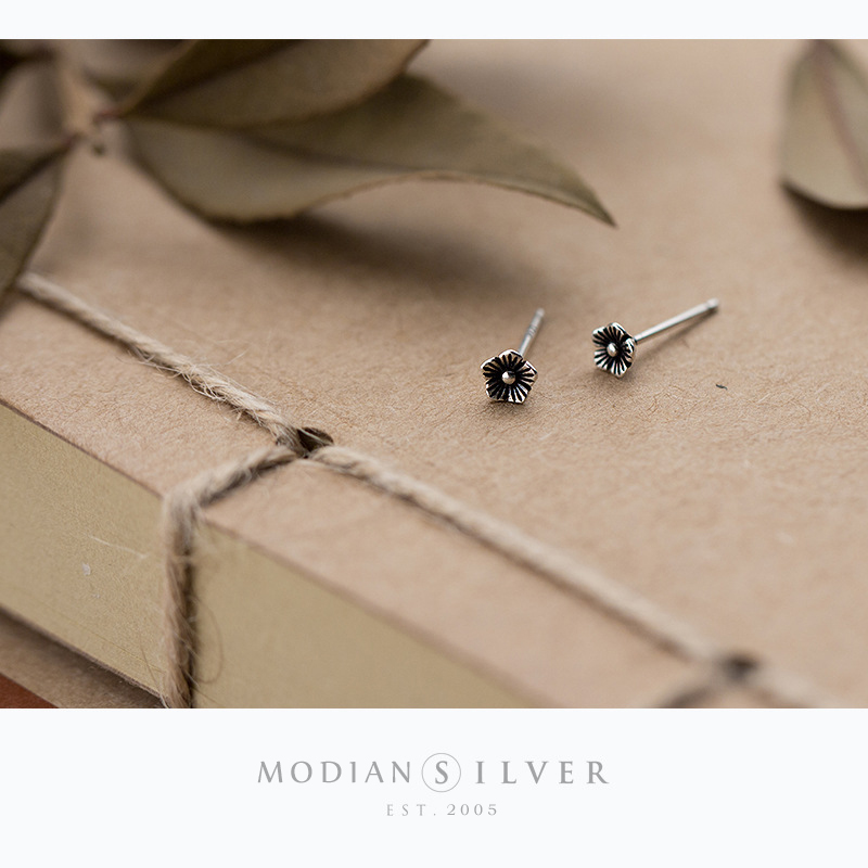 Modian Small Vintage Silver Stud Earrings for Women 925 Sterling Silver Studs Ear Fine Jewelry Accessories Prevent allergy