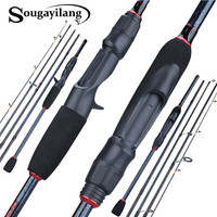 Sougayilang 1,8-2,4 m 5 Abschnitt Spinning Casting Angelrute Ultraleicht Carbon Faser Reise Tragbare Angelrute Tackle