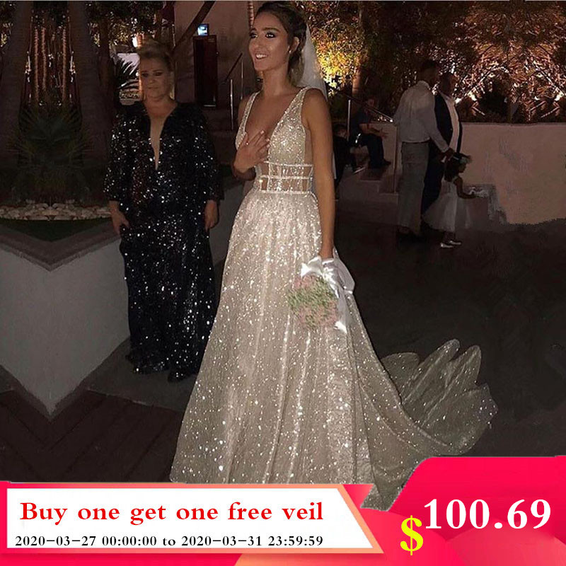 Smileven  A Line Wedding Dresses Sparkly White Sequined Backless Boho Glitter Wedding Bride Gowns Robe De Soiree
