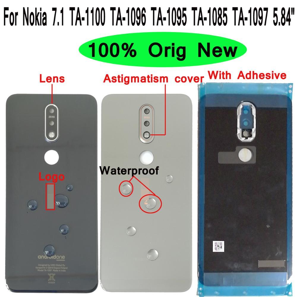 "Shyueda 100% Orig New + Lens 5.84"" For Nokia 7.1 TA-1100 TA-1096 TA-1095 TA-1085 TA-1097 Glass Rear Back Housing Battery Cover(China)"