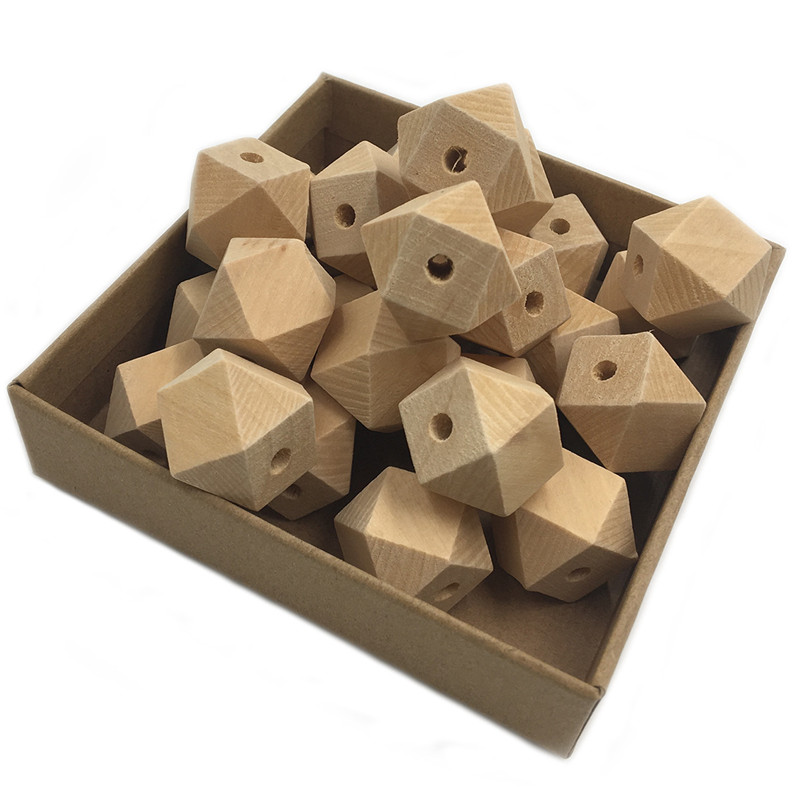 10Pcs DIY Baby Molar Beads Accessories Lotus Wooden Octagonal Hexagonal Shape Pacifier Chain 3C Certification Baby Teether Toys