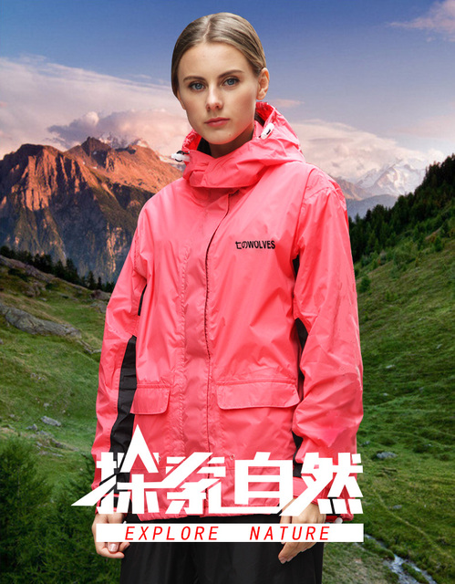Pink Raincoat Women Jacket Rain Pants Suit Thin Outdoor Sports Adult Hiking Korean Rain Coat Clothes Capa De Chuva Gift Ideas 5