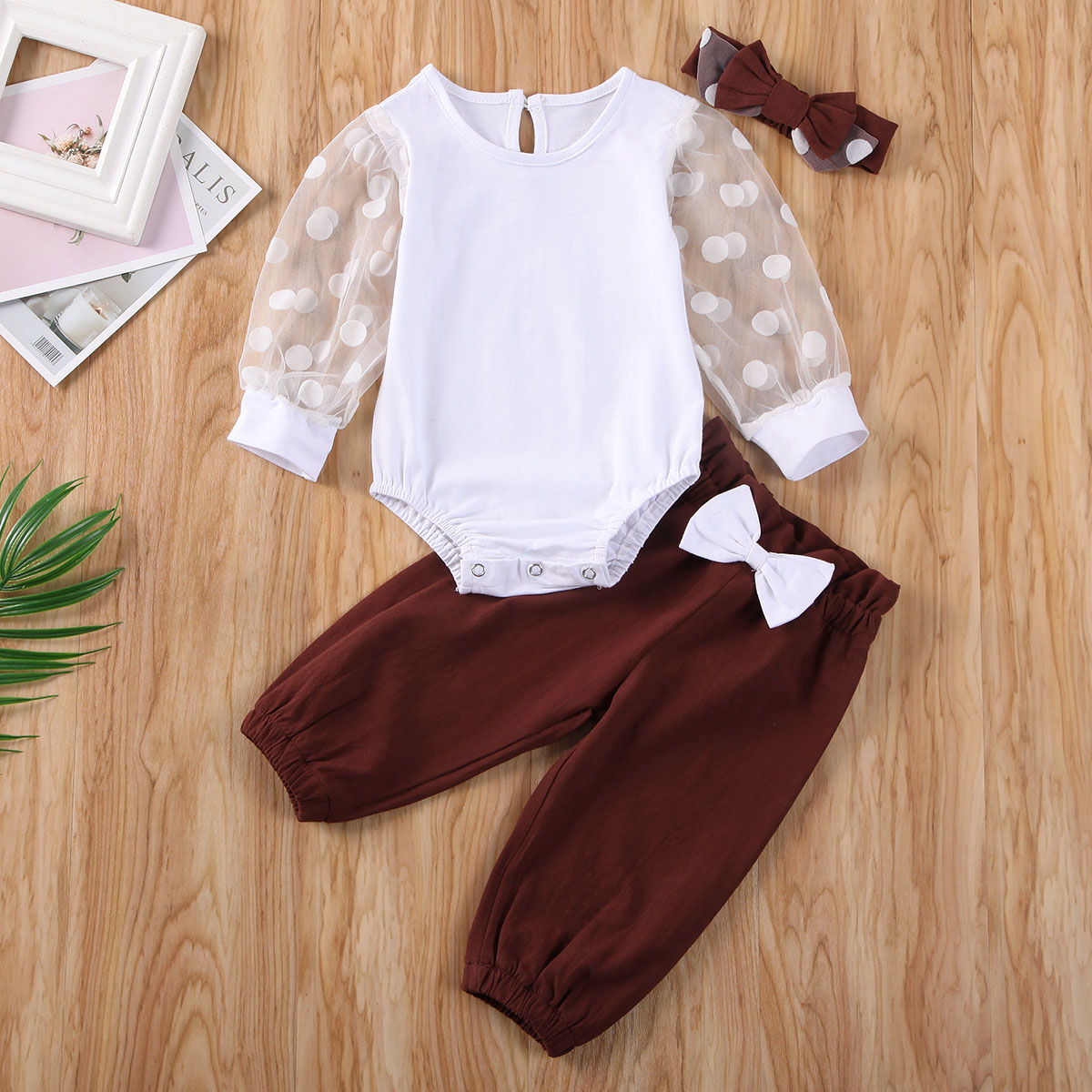 Pudcoco Newborn Baby Girl Clothes Long Sleeve Tulle Polka Dot Romper Tops Long Pants Headband 3Pcs Outfits Clothes