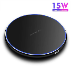 15W bezprzewodowa ładowarka qi dla iPhone X Xs MAX XR 8 plus szybkie ładowanie dla Samsung S8 S9 Plus uwaga 9 8 ładowarka do telefonu na usb Pad w Ładowarki bezprzewodowe od Telefony komórkowe i telekomunikacja na