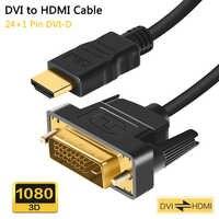 Cable DVI a HDMI DVI-D 24 + 1 Pin Cables adaptadores 1080P 3D Cable HDMI a DVI para HDTV XBO Monitor proyector DVD PS4/3 1M 2M 3M 5M