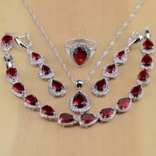 Ensemble de bijoux goutte d'eau en argent 925 pour femmes, rouge, cubique, zircone blanche, boucles d'oreilles, pendentif, collier, bagues, Bracelet