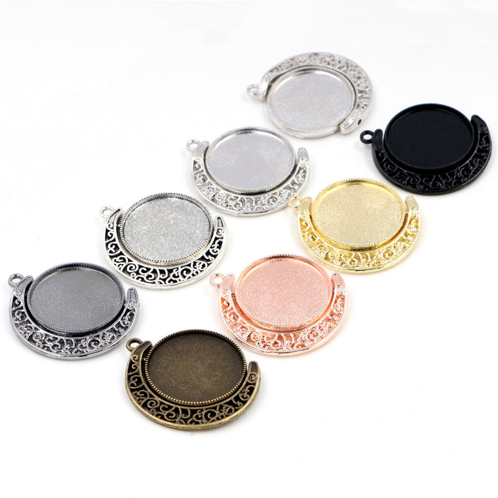 5pcs 25mm Inner Size Moon Rotation Double Side 7 Colors Plated Cameo Cabochon Base Setting Charms New Fashion Pendant