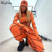 Hugcitar 2020 Long Sleeve Patchwork Turtleneck Tashirt Top Pants 2 Pieces Set Autumn Winter Women Casual Tracksuit