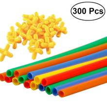 300pcs Straw Constructor Interlocking Enginnering Toys Straws and Connectors Set Kids Educational Toys